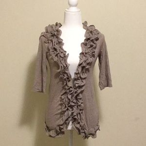 Light Brown Cardigan with Ruffles